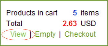 Status of Shopping Cart